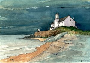 Lighthouse and a Calm Sea - Rob Carey Art