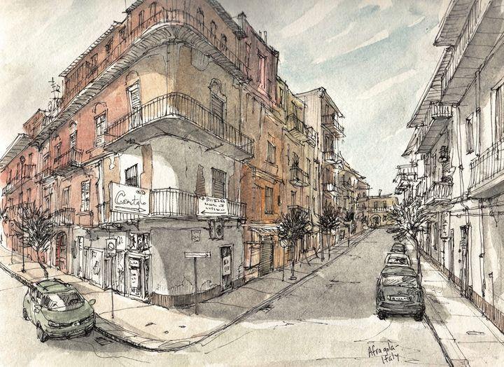 Italy Urban Sketch - Rob Carey Art
