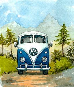 VW Bus Camping - Rob Carey Art