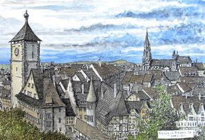 Freiburg Germany Overview - Rob Carey Art