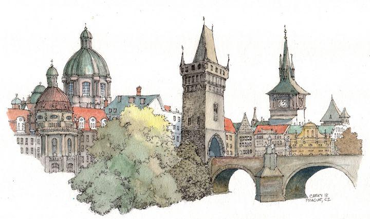 Prague Bridge Sketch - Rob Carey Art