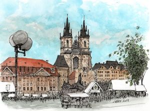 Prague Old Town Sketch - Rob Carey Art