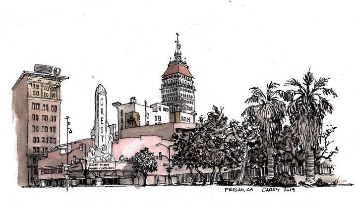 Fresno Sketch - Rob Carey Art