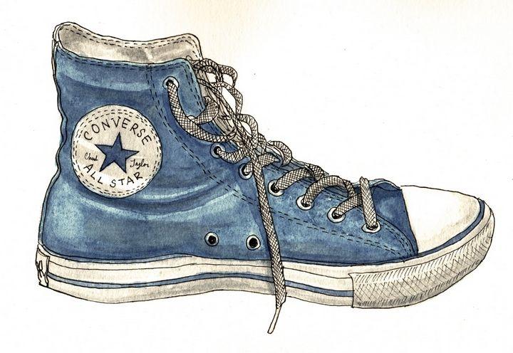 Blue Converse High Top - Rob Carey Art