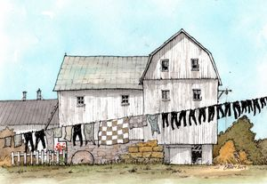 Amish Barn with Laundry Line - Rob Carey Art