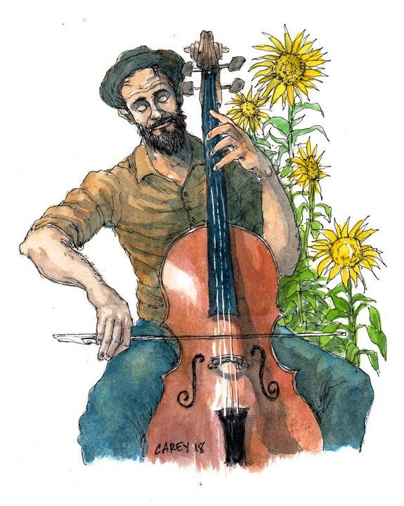 Cello & Sunflowers - Rob Carey Art