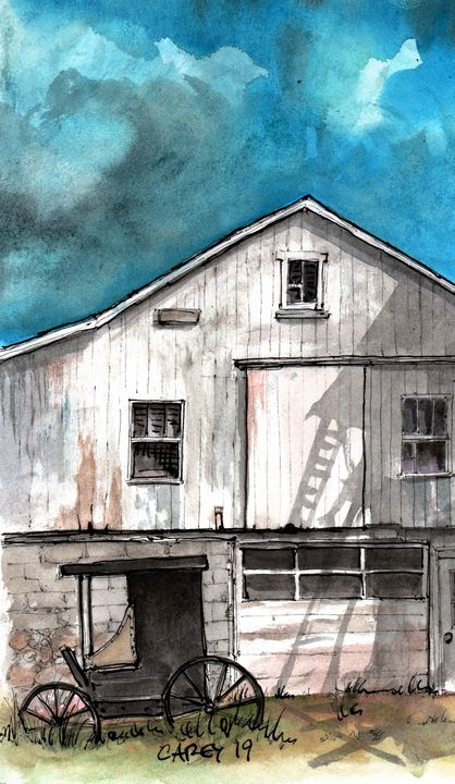 Amish Barn with Carriage - Rob Carey Art