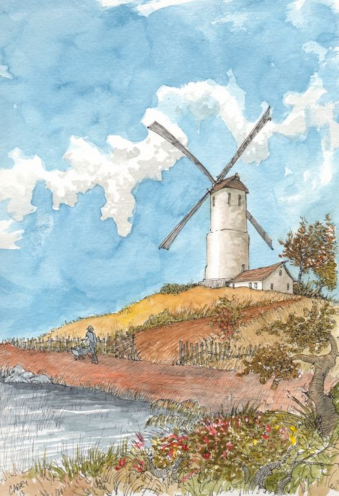 Windmill in the Summer - Rob Carey Art