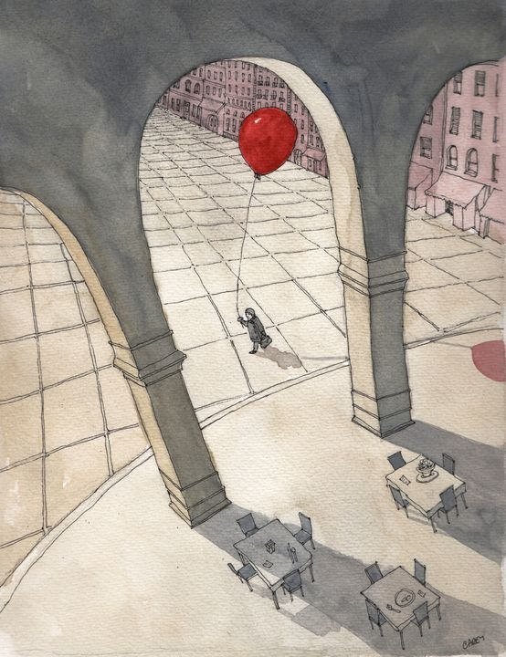 Red Balloon in Italy - Rob Carey Art