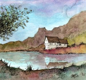 Old House by the Pond - Rob Carey Art