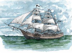 The Ruby Gale Pirate Ship - Rob Carey Art