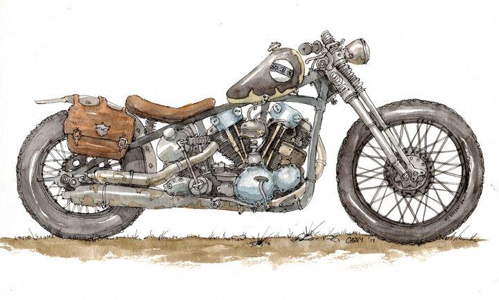 Custom Motorcycle - Rob Carey Art