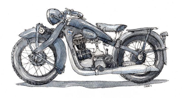 1934 BMW R4 - Rob Carey Art