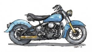 1950 Harley FL Panhead - Rob Carey Art