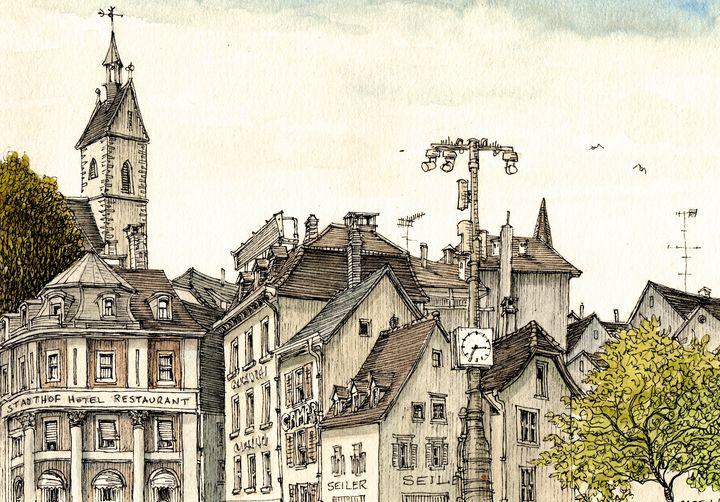 Basel Barfusserplatz - Rob Carey Art