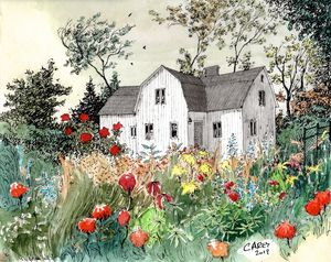 Swedish Home with Flower Garden - Rob Carey Art