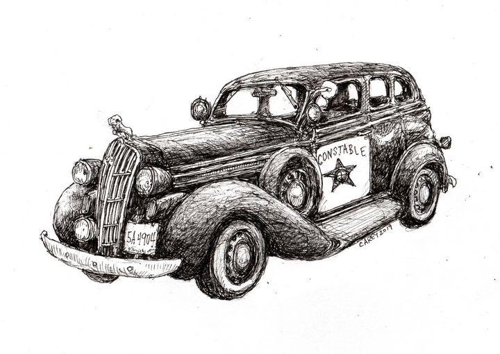 1936 Dodge Sedan U.S. Marshall - Rob Carey Art