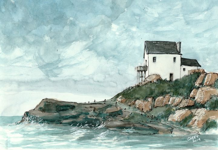 Fishing Cabin by Cove - Rob Carey Art