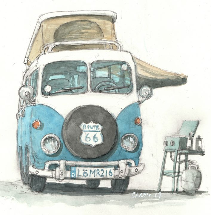 Volkswagen Bus Camper - Rob Carey Art