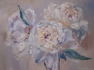 Oil painting. Peonies Painting with