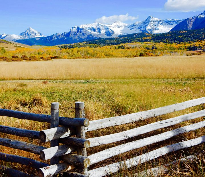 Wooden Fence and Snowy Summit - Bev's Takes