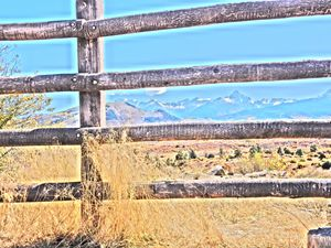 Rustic Fence, Mountains Beyond