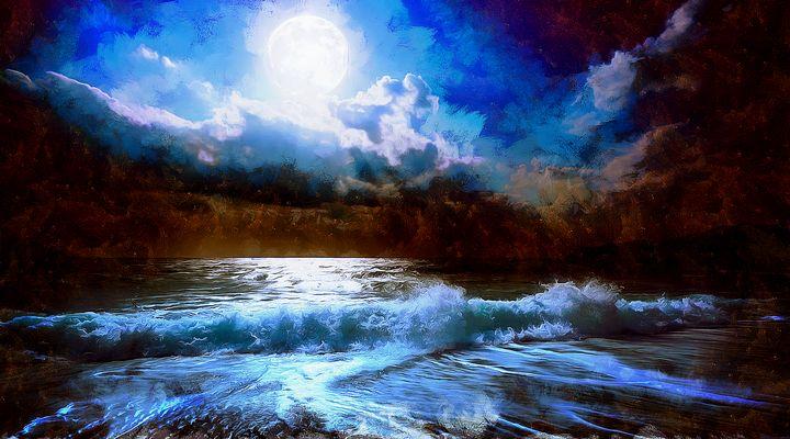 Moonlit beach - Oil on canvas - Suresh Mannath
