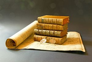Map and antique books.