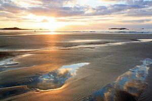 Romantic sunset on the beach.