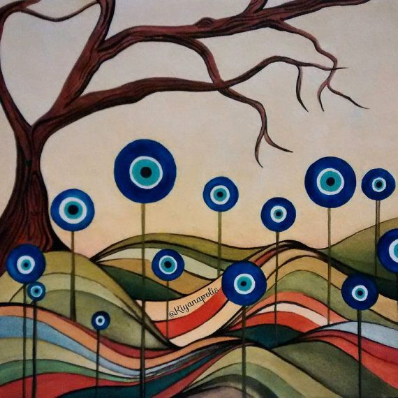 Evil Eye Watercolor Painting - Kiyanapolis