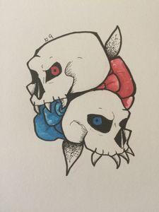 Tattoo Design - Skulls and flowers