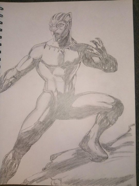 Black Panther Pencil Drawing - Peace By Piece Cre8n