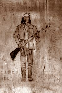 Native American on the Cell Wall in - Fine Art by Debby