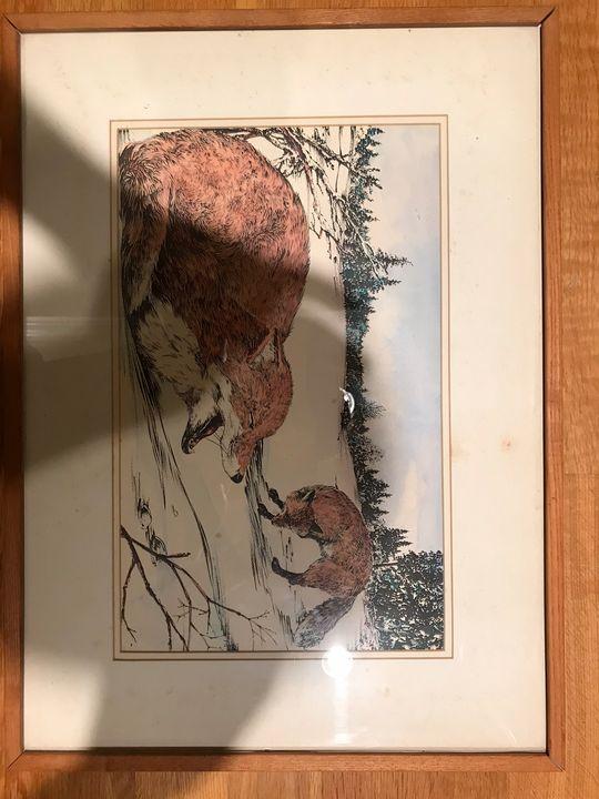 Original painting of Foxes in Winter - Jarpar