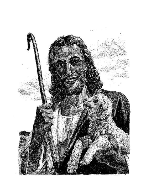 Jesus and Lamb - Naughty Jesus