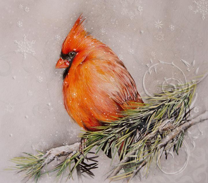 Cardinal in Winter - Happy Bird Studio