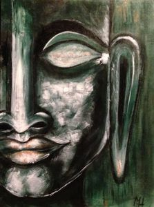 Dark green Buddha, original acrylic