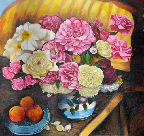 White & Pink Peony still life (4) - Flower Art Gallery