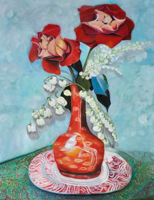Roses in Orange Vase (85) - Flower Art Gallery
