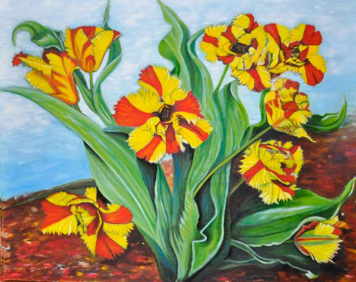 Yellow & Red Tulips (86) - Flower Art Gallery