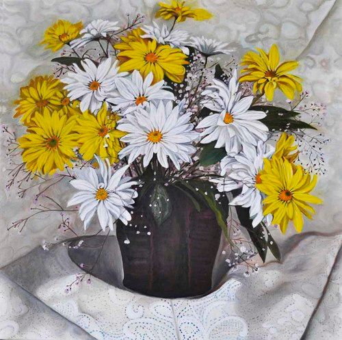 Yellow & White Daisy still life (95) - Flower Art Gallery