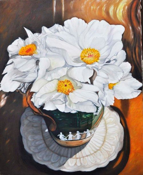 White Peony in pitcher (97) - Flower Art Gallery