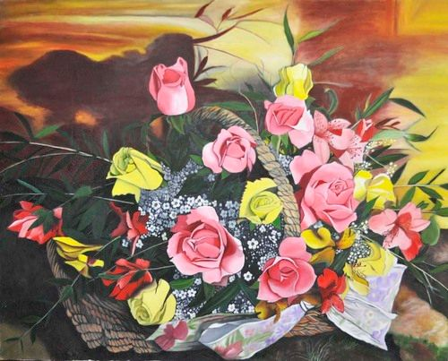 Red & Yellow Roses in basket (120) - Flower Art Gallery