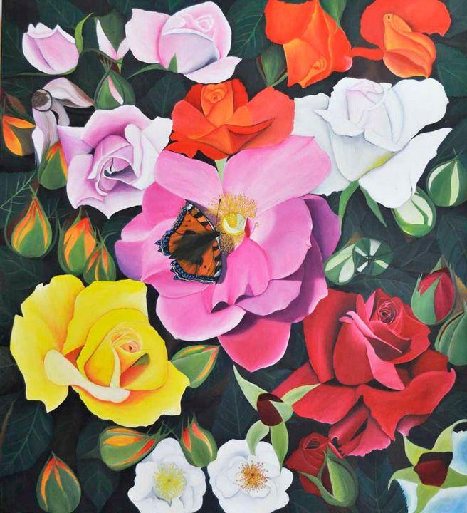 Yellow White Red Roses (137) - Flower Art Gallery
