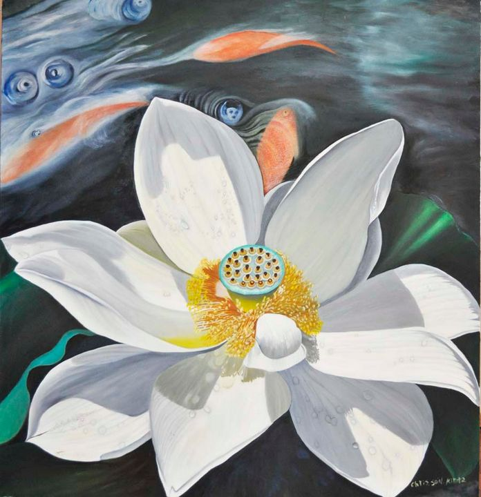 Lotus Blossom in stream w/fish (138) - Flower Art Gallery