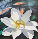 Lotus Blossom in stream w/fish (138)