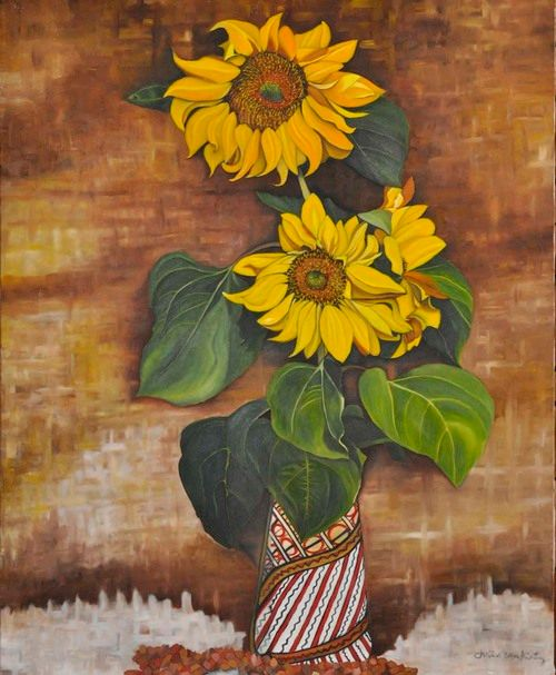 Sunflowers Indian vase (159) - Flower Art Gallery