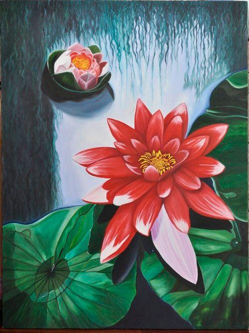 Red Lotus blossom (166) - Flower Art Gallery
