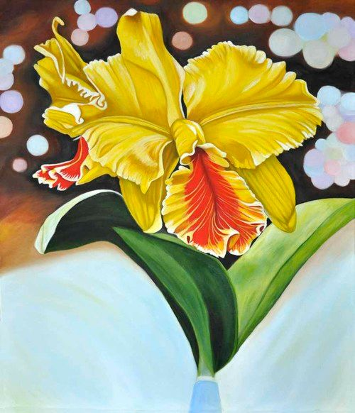 Yellow and Red Orchid (62) - Flower Art Gallery