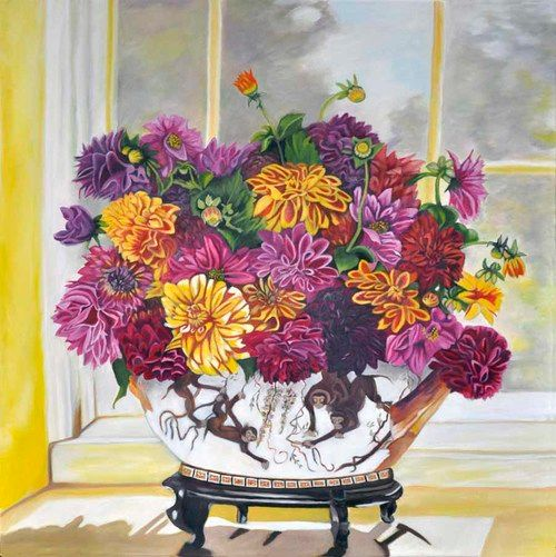 Dahlia in Chinese monkey vase (69) - Flower Art Gallery